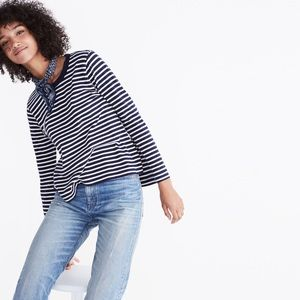 Rivet and Thread Bell Sleeve Tee Striped